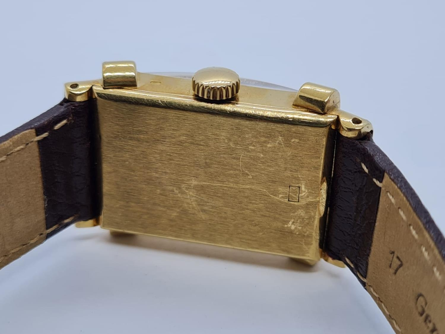 Patek Philippe Geneve WATCH tank style with rectangular face Case: 20x40mm. Brown Leather Strap. - Image 5 of 5