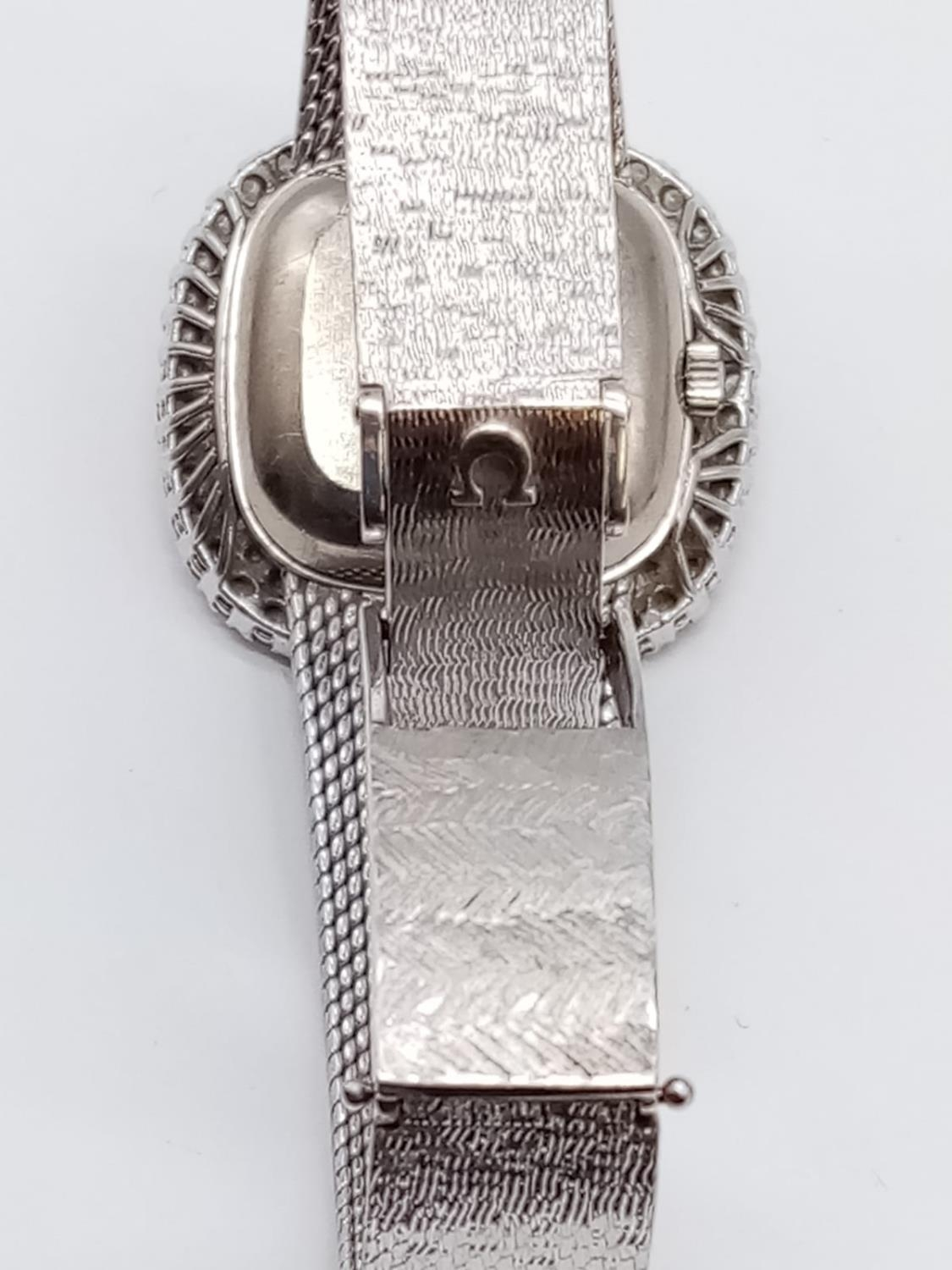 Vintage 18ct white gold OMEGA de Ville ladies automatic watch, square face with diamond encrusted - Image 5 of 7