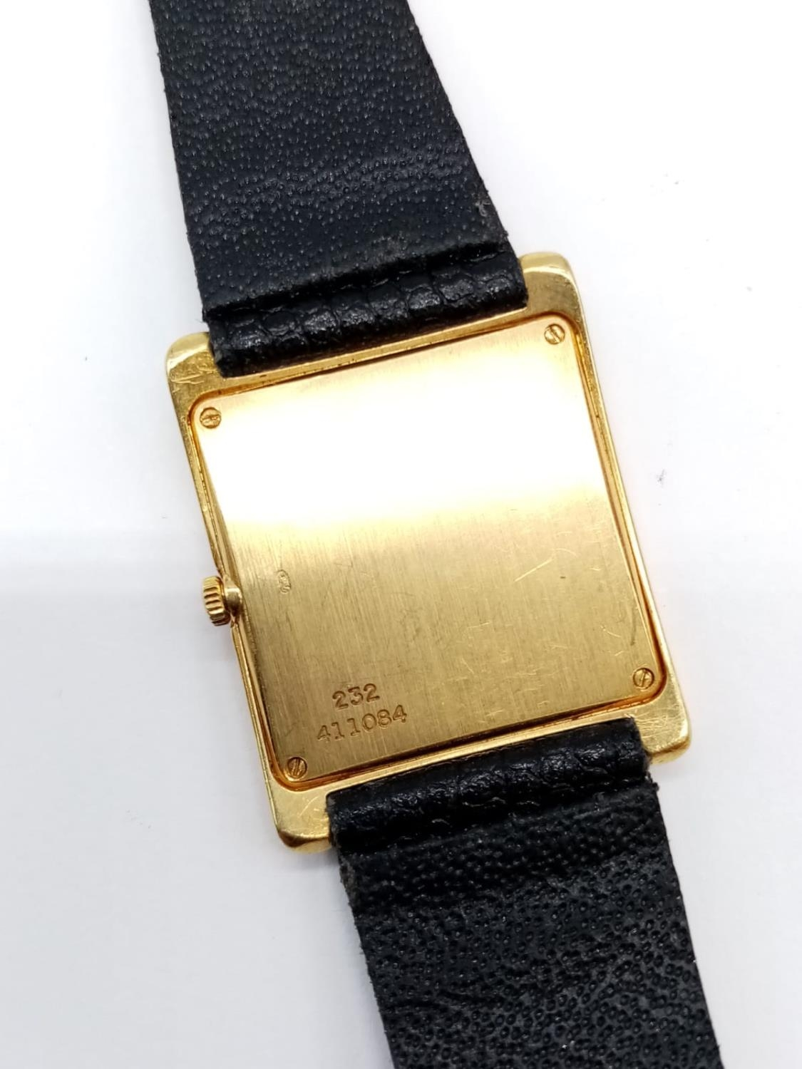 Vintage Plaget 18ct gold ladies watch with square face (22mm) and leather strap - Image 8 of 10
