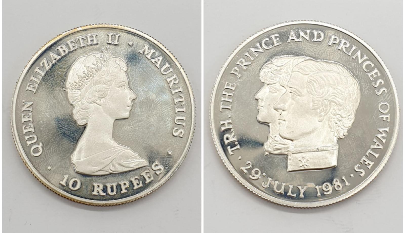 Silver Commemorative Coin. Royal Wedding 1981 10 Rupees 28.4g Mauritius