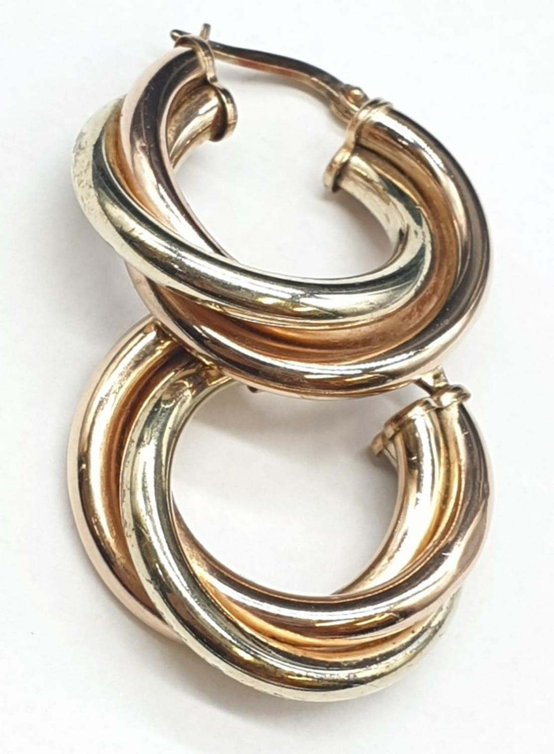 9ct 3 colours Gold Earrings 3.4g - Image 2 of 4