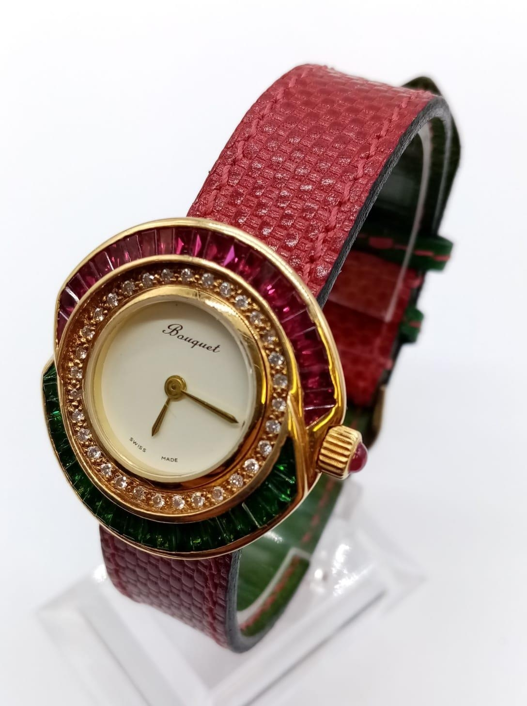 Vintage Bouquet 18ct gold ladies dress watch, round face with emerald, ruby and diamonds surround, - Image 2 of 9