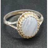 Silver Ring with Pale Blue Agate Stone 2.2g Size P