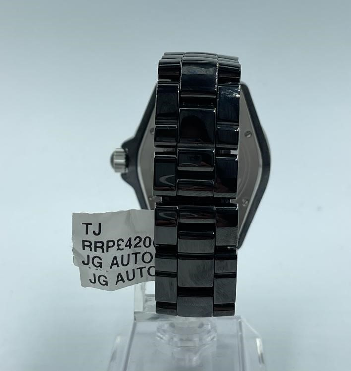 Chanel large ceramic automatic watch, black face and strap - Image 2 of 3
