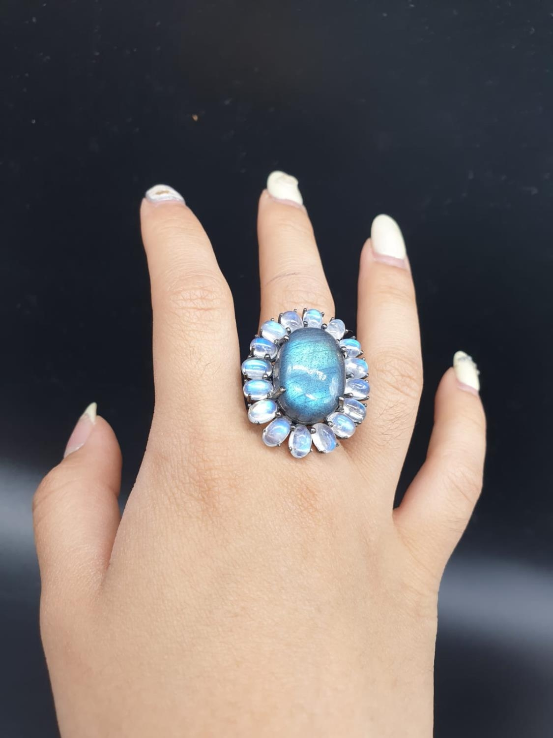 10.50 Ct Moonstones & 14.25 Ct Labradorite set within a blackened silver ring, weight 11.62g and - Image 7 of 7