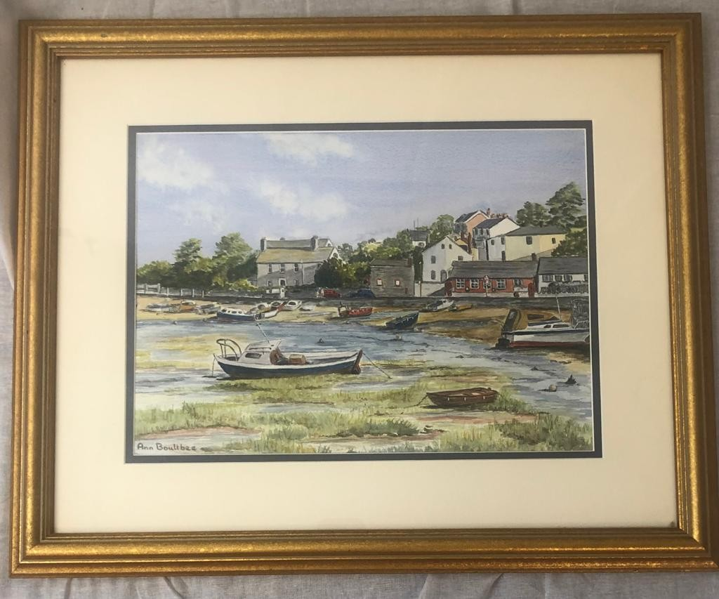 Framed WATERCOLOUR PAINTING of Cockwood Creek by the artist Ann Boultbee. 52 x 43cm