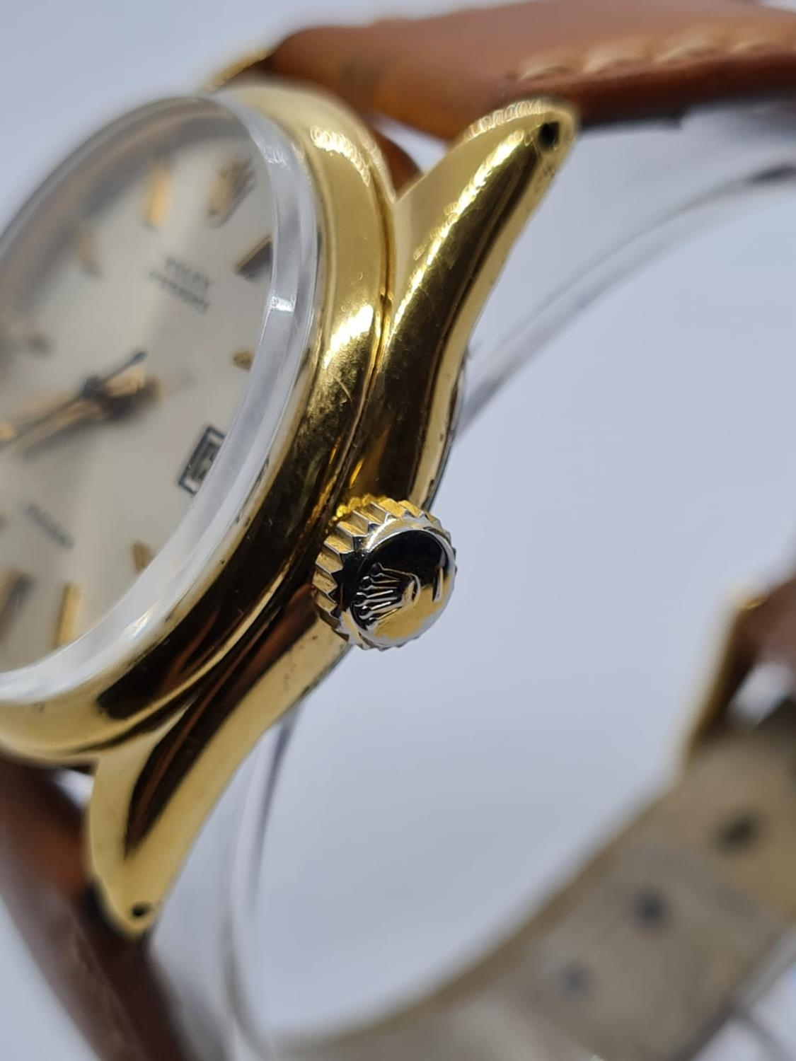 Vintage Rolex Oysterdate Precision Gents WATCH. Round face and genuine brown leather strap. 32mm - Image 3 of 5