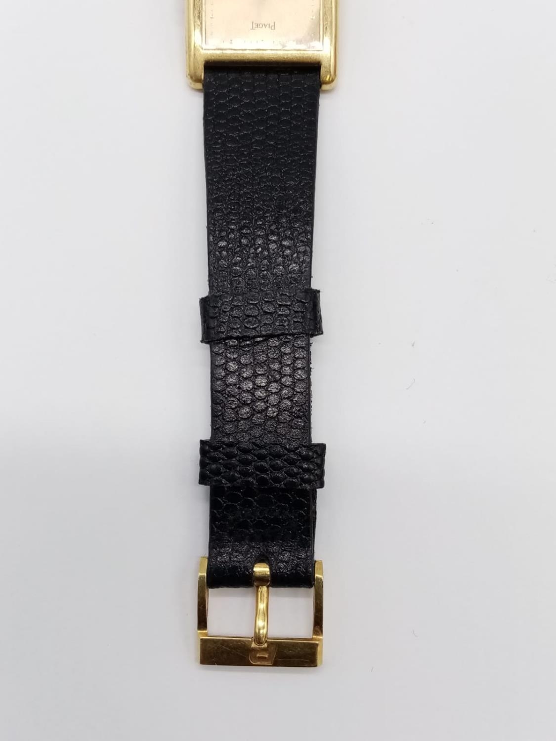 Vintage Plaget 18ct gold ladies watch with square face (22mm) and leather strap - Image 10 of 10