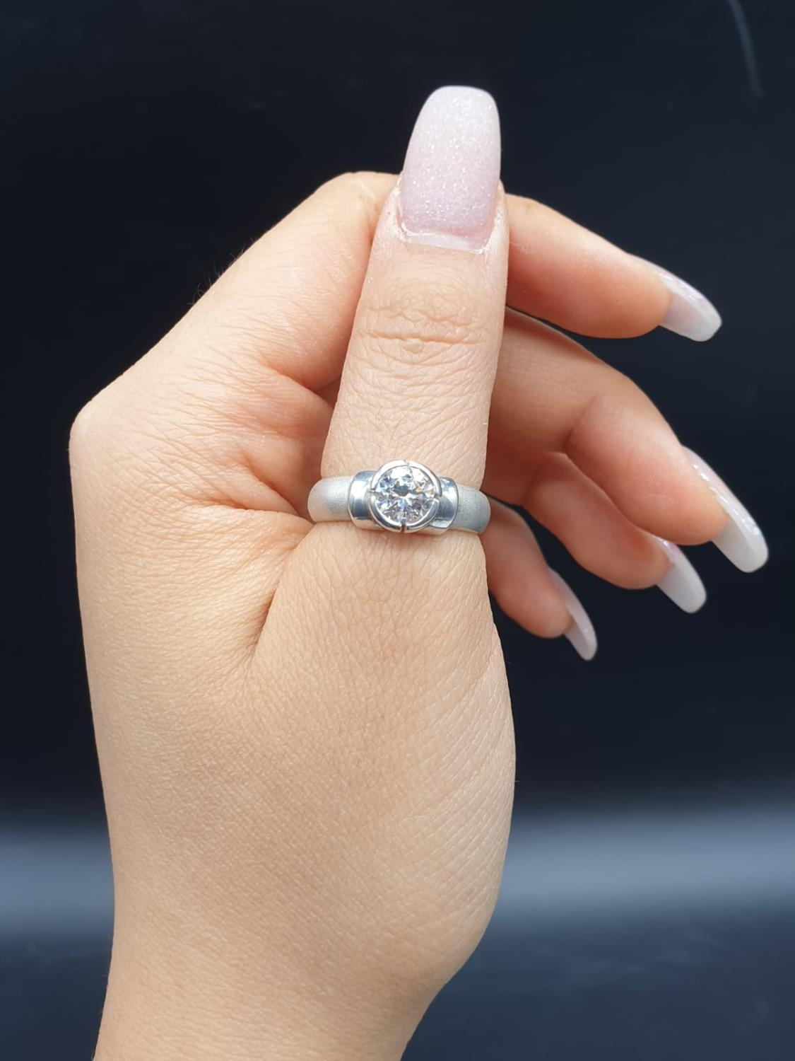 Silver Ring with large CZ Stone 3.6g Size P - Image 5 of 7