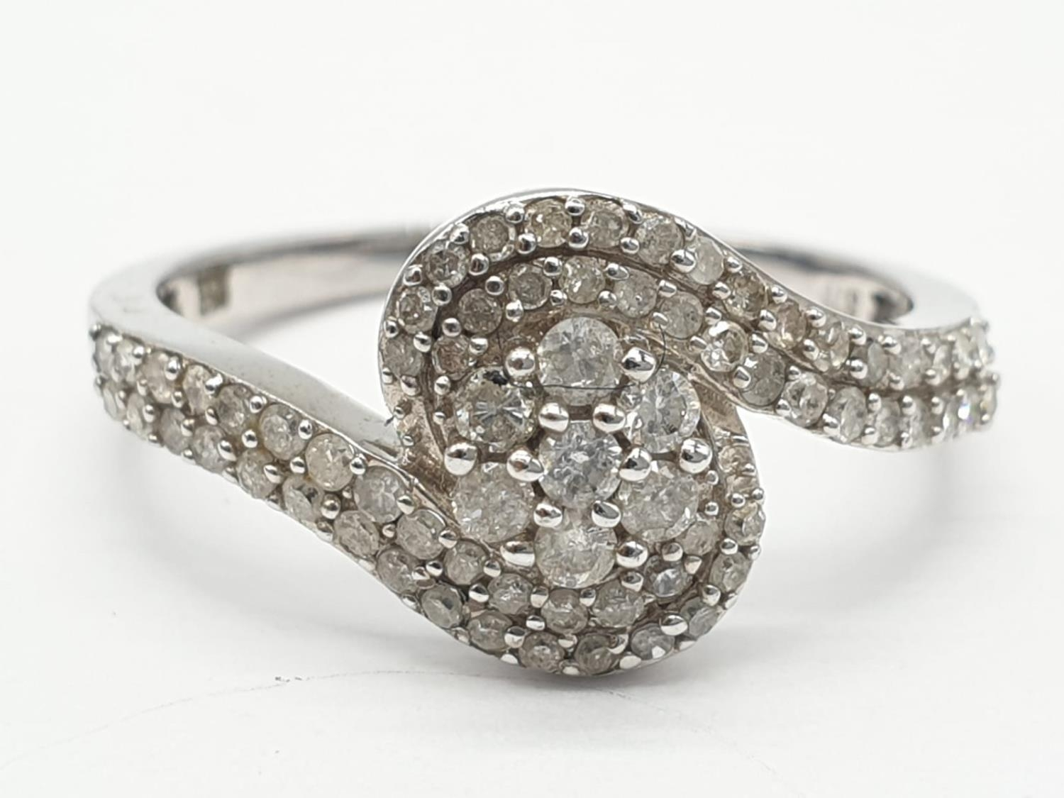 9ct white gold diamond twist cluster ring, 0.50ct diamond approx, weight 2.5g and size P