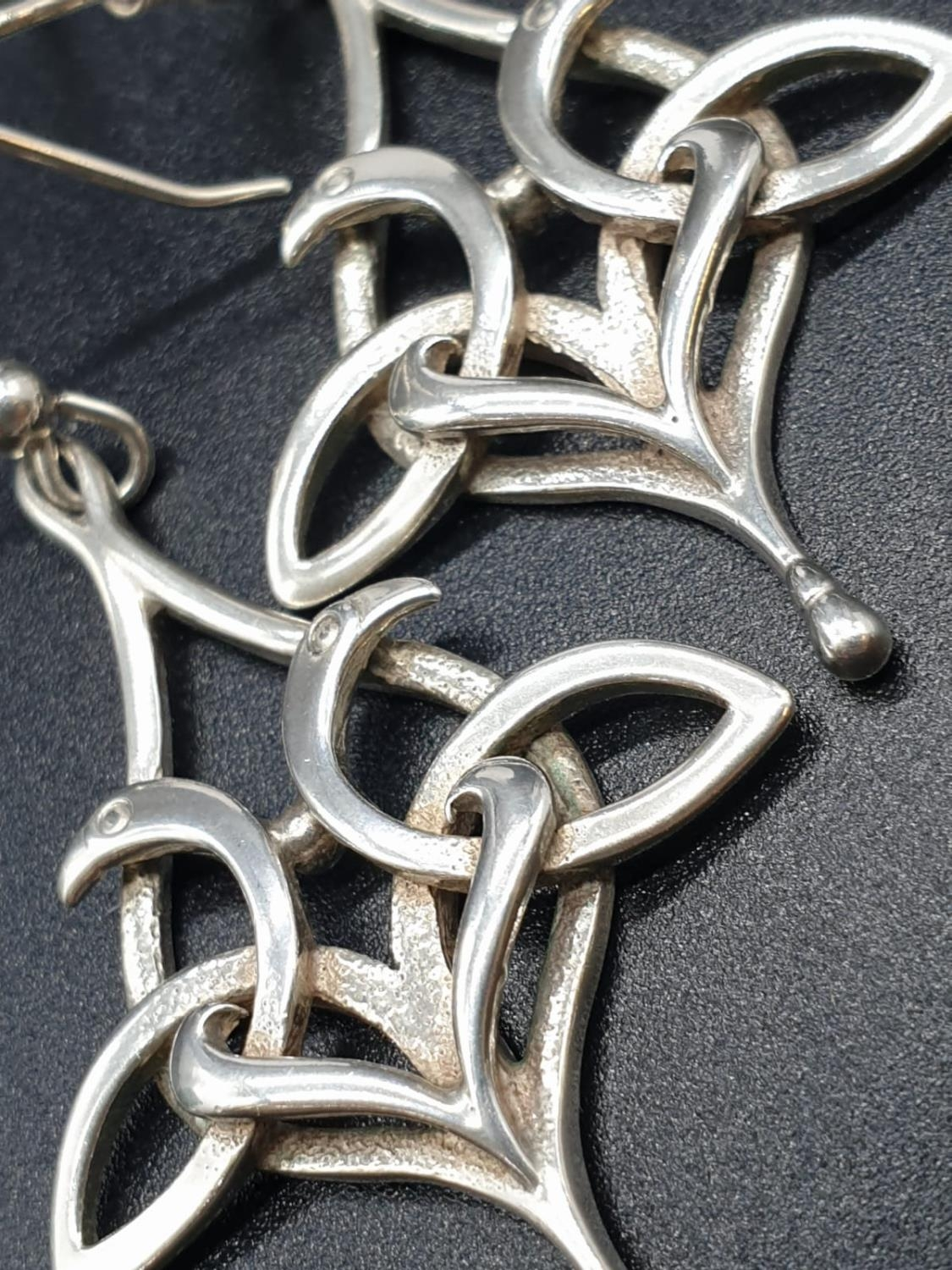 A Pair of Silver Drop Earrings 6.6g 5cm - Image 2 of 3