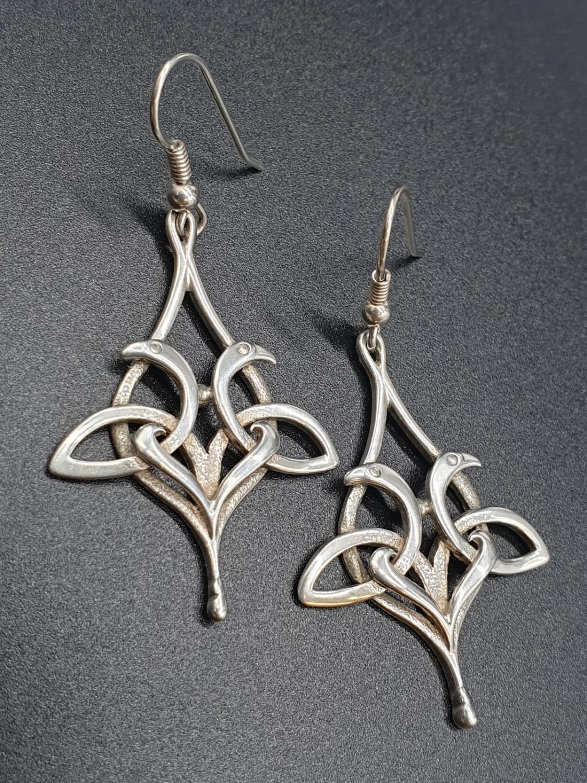 A Pair of Silver Drop Earrings 6.6g 5cm
