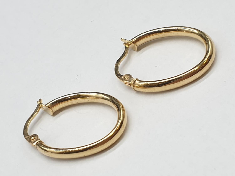 9ct Gold Oval Hoop Earrings 1.0g