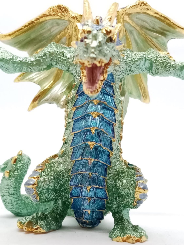 Enamel DRAGON. 520g. 9cm tall - Image 3 of 8