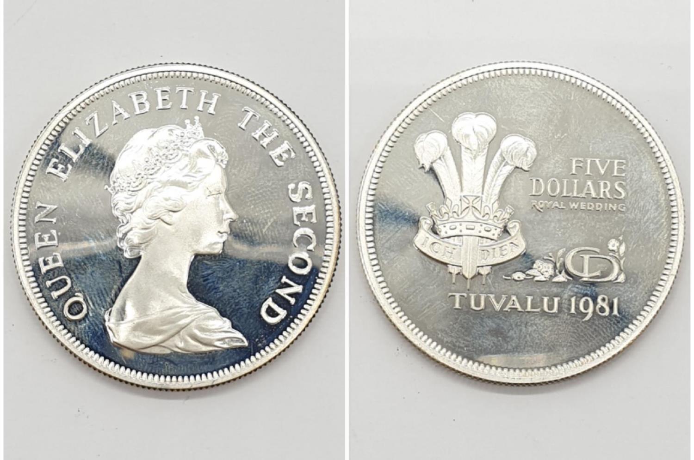 Silver Commemorative Coin. Five Dollars Royal Wedding Tuvalu 1981 28.1g