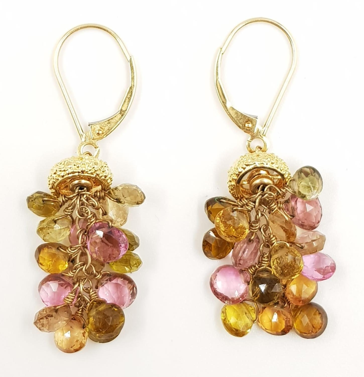 A pair of ladies 14ct gold, sapphire drop earrings. 6.6g total weight. - Image 2 of 2