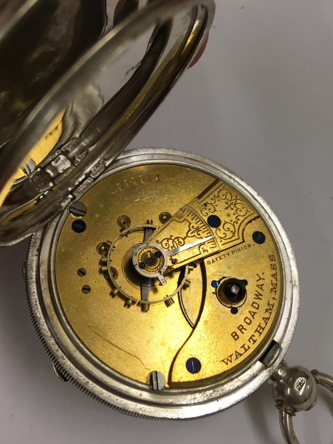 Antique solid silver Waltham Broadway , ticks if shaken but sold with no guarantees - Image 3 of 4