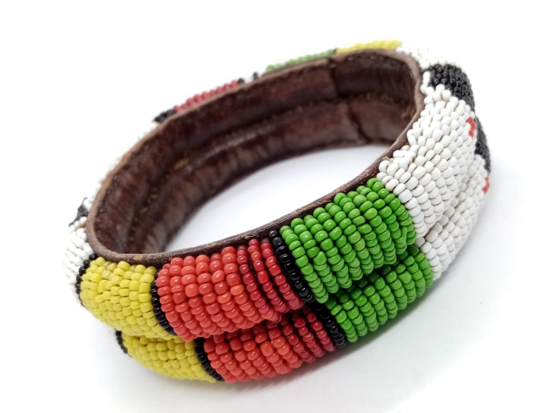 Native American hand woven leather BANGLE.