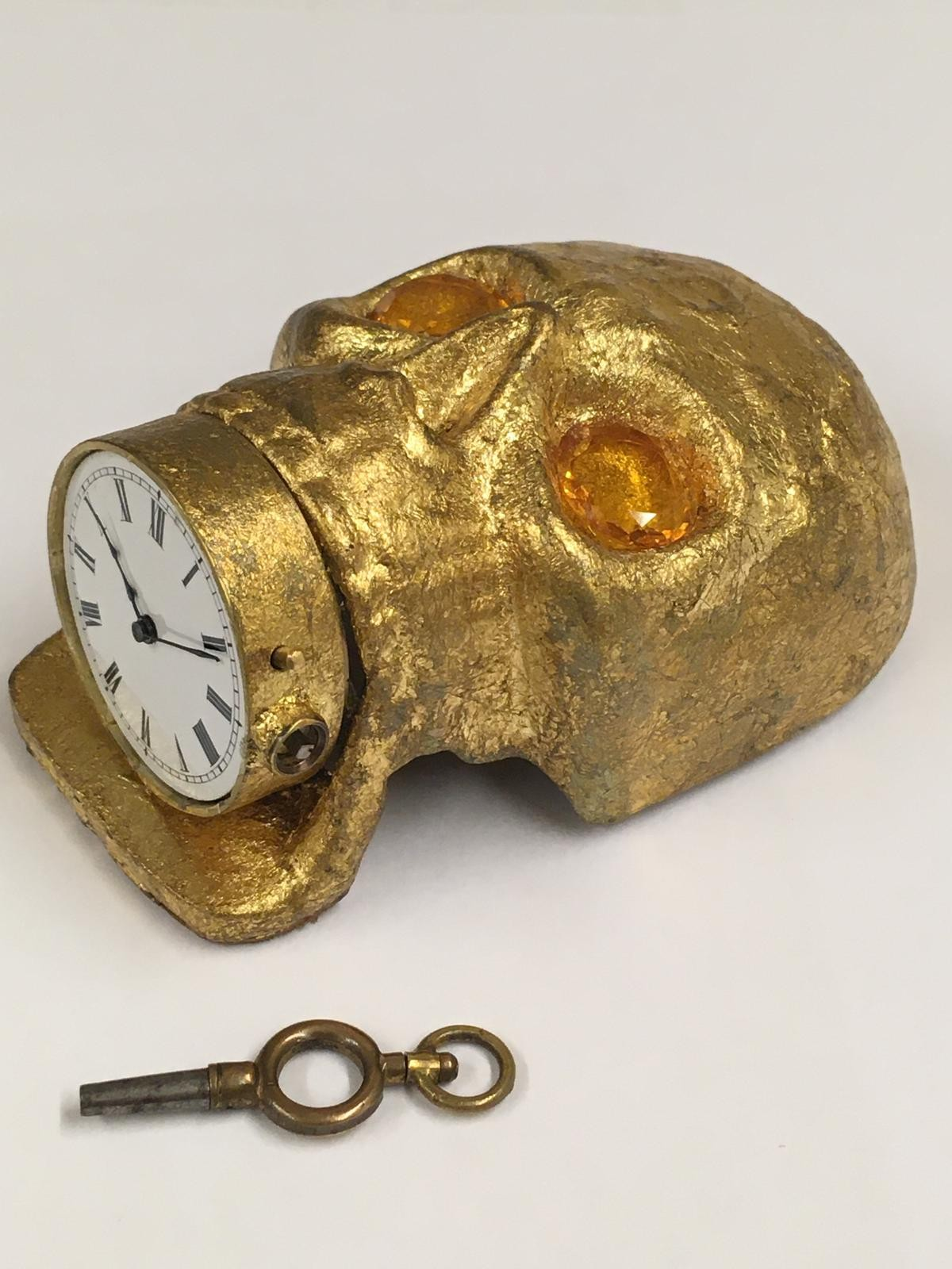 Antique 19th century Masonic memento mori Pocket watch movement timepiece . ( working ) skull with - Image 7 of 8