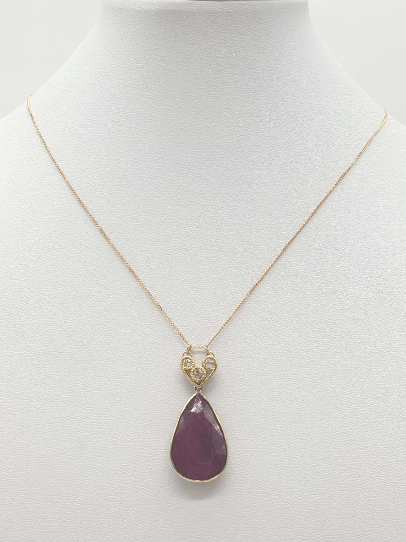 Large PENDANT 10ct Ruby & 3 x Diamonds on 9ct fine CHAIN. 5.1g. 46cm length.
