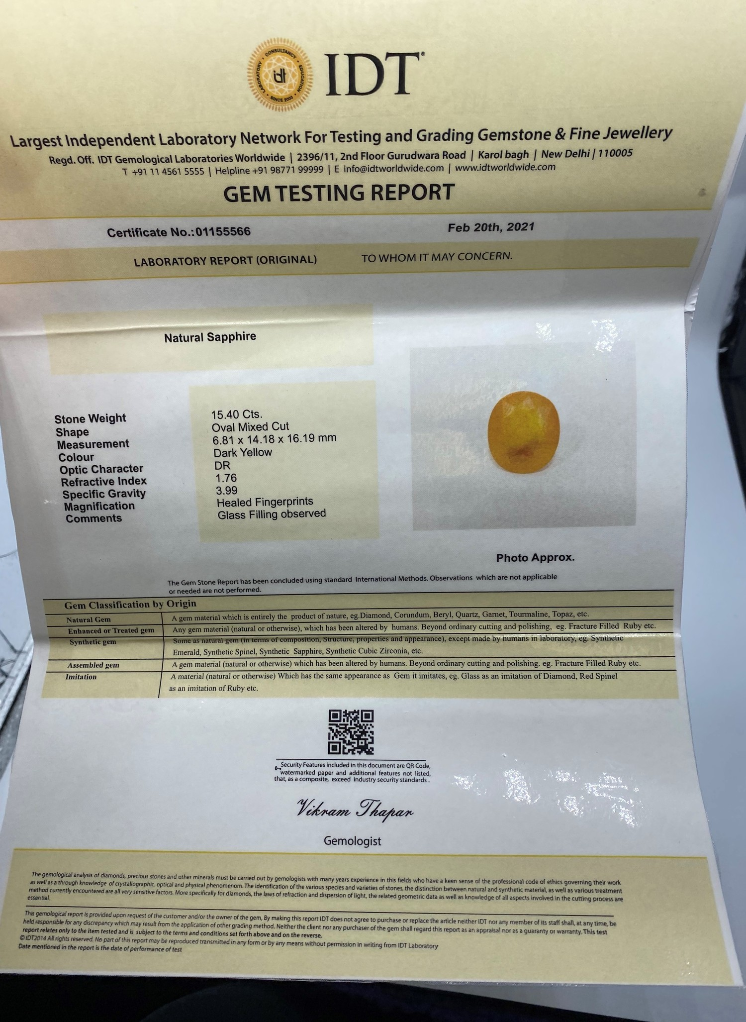15.40ct IDT Certified Natural Yellow Sapphire - Image 4 of 5