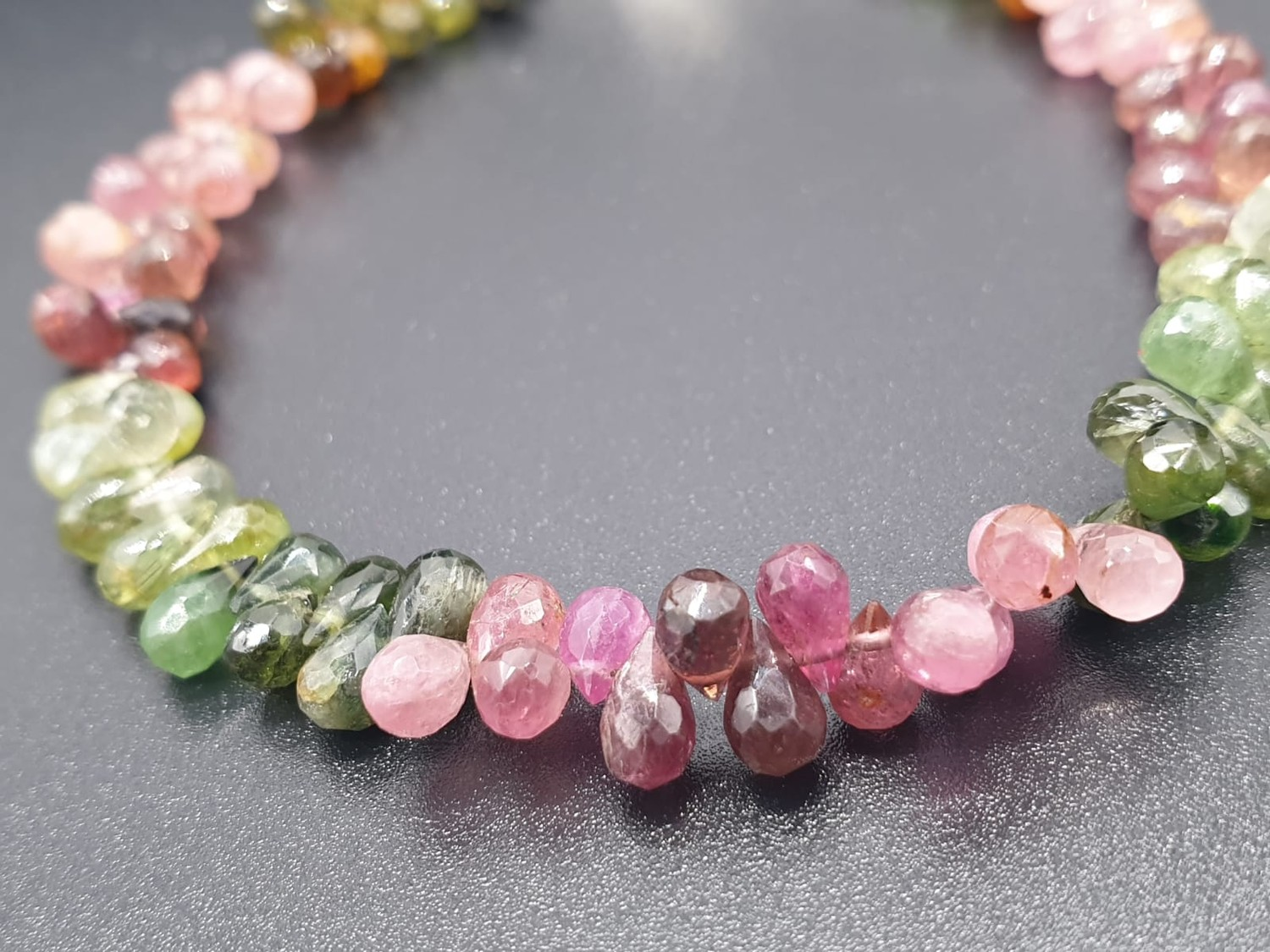 Single Row 3mm Tourmaline Necklace With Matching Tourmaline Drops Bracelet and 925 silver Clasp - Image 3 of 8
