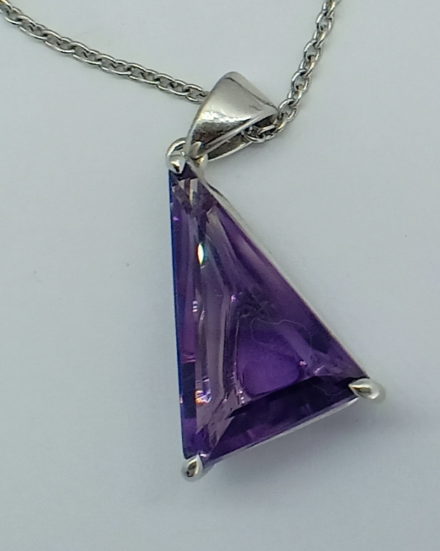 PENDANT with SILVER 925 RHODIUM with AMETHYST - BRAZIL - 10.22 Cts - Certificate GFCO Swiss Laborat