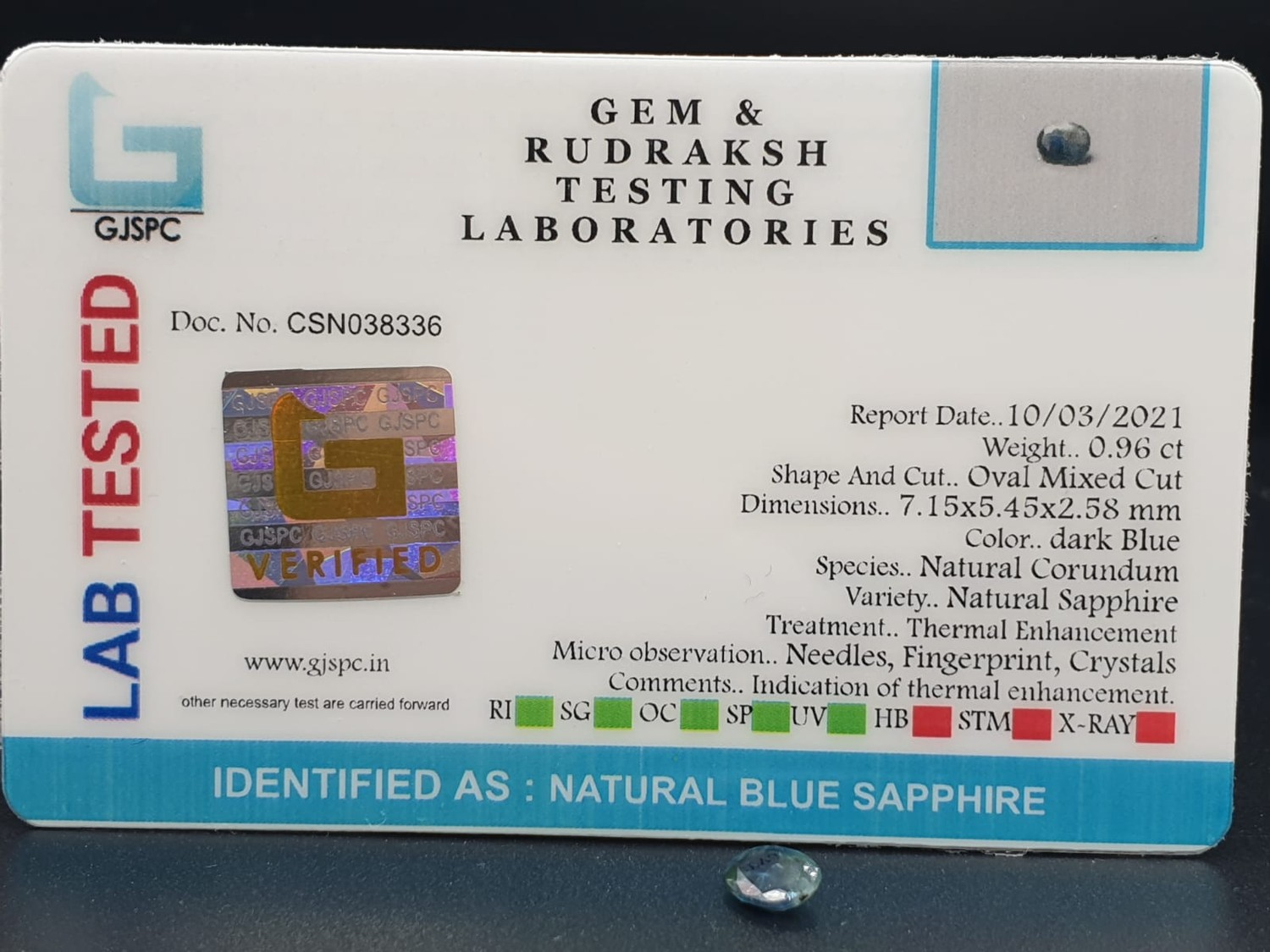Set of 3 Blue Sapphires GJSPC Certified - Image 9 of 11