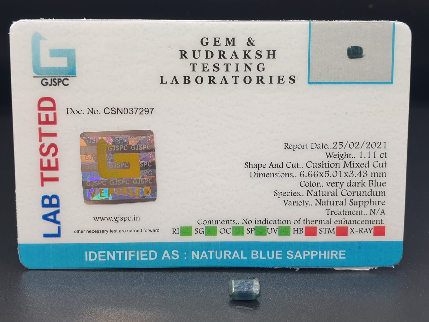 1.11 Cts Natural Blue Sapphire & 6.26 Cts Natural opal. Both GJSPC Certified - Image 2 of 8