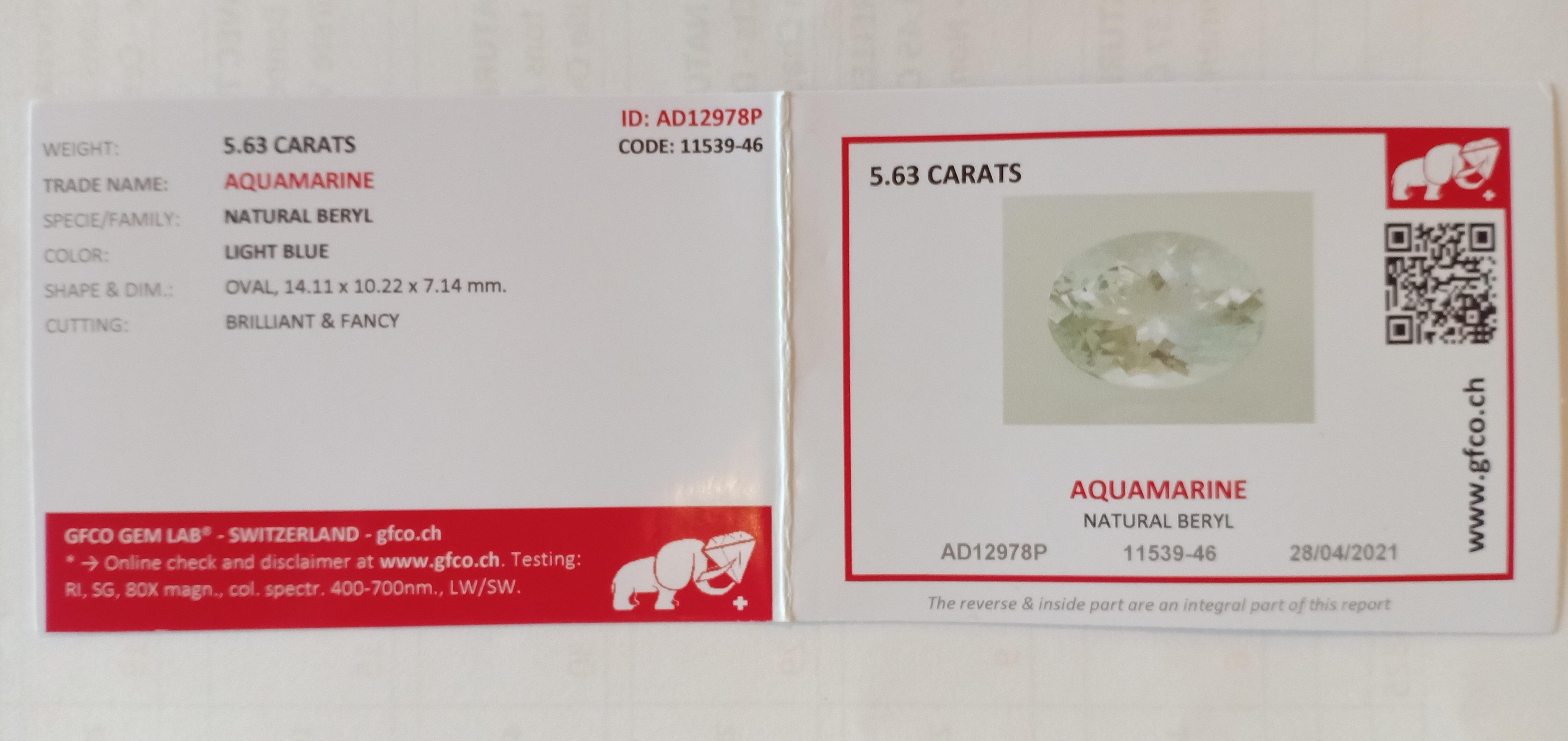 NATURAL AQUAMARINE - 5.63 Cts - BOLIVIA - Certificate GFCO Swiss Laboratory - Image 2 of 2