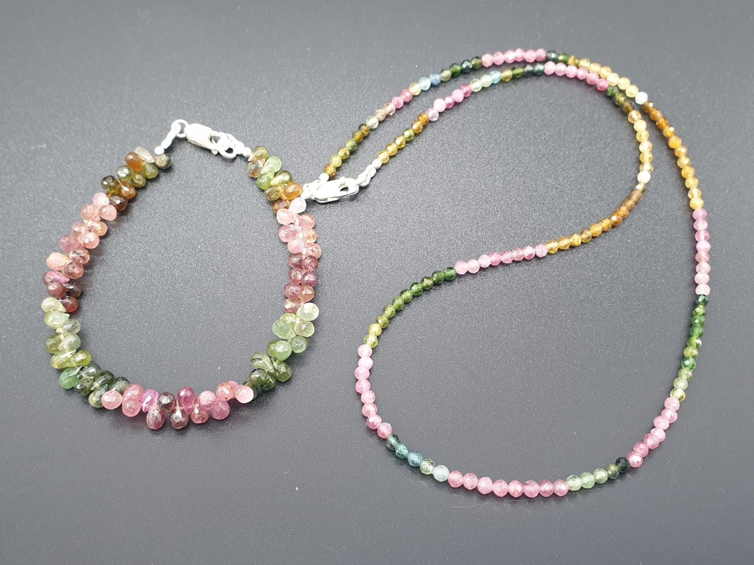Single Row 3mm Tourmaline Necklace With Matching Tourmaline Drops Bracelet and 925 silver Clasp