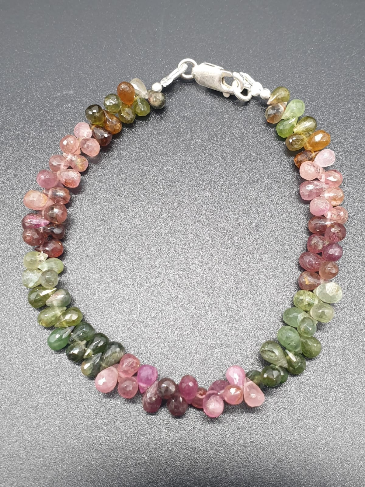 Single Row 3mm Tourmaline Necklace With Matching Tourmaline Drops Bracelet and 925 silver Clasp - Image 2 of 8