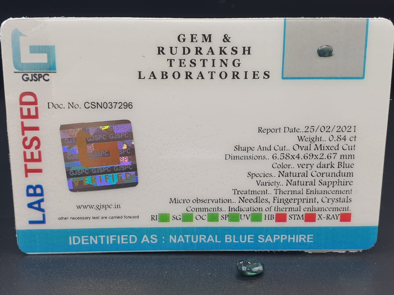 Set of 3 Blue Sapphires GJSPC Certified - Image 8 of 11