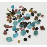 62cts rough tourmalines and apatite gemstone