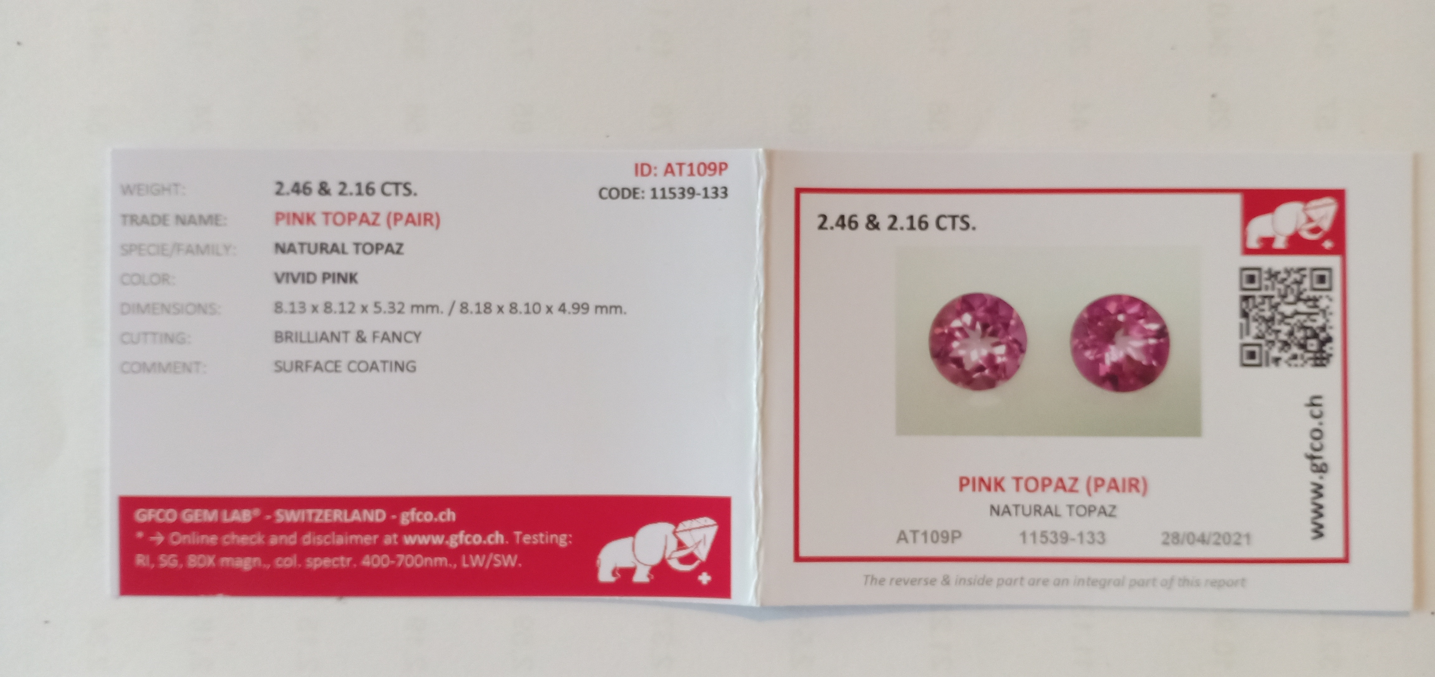 PAIR OF NATURAL PINK TOPAZES - BRAZIL - 4.62 Cts - Certificate GFCO Swiss Laboratory - Image 4 of 4
