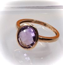 14K YELLOW GOLD RING with AMETHYST - 2.48 Grams - Certificate GFCO Swiss Laboratory