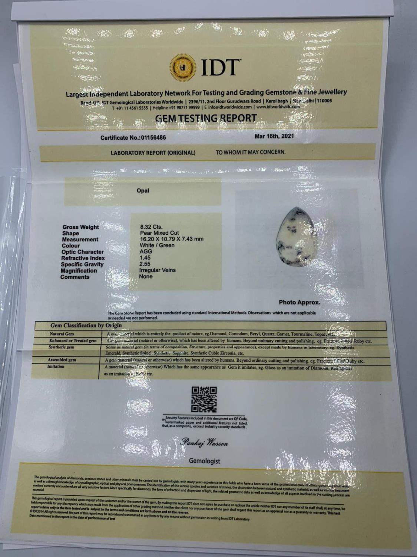 8.32ct Dendrite Opal Gemstone IDT Certified - Image 2 of 2