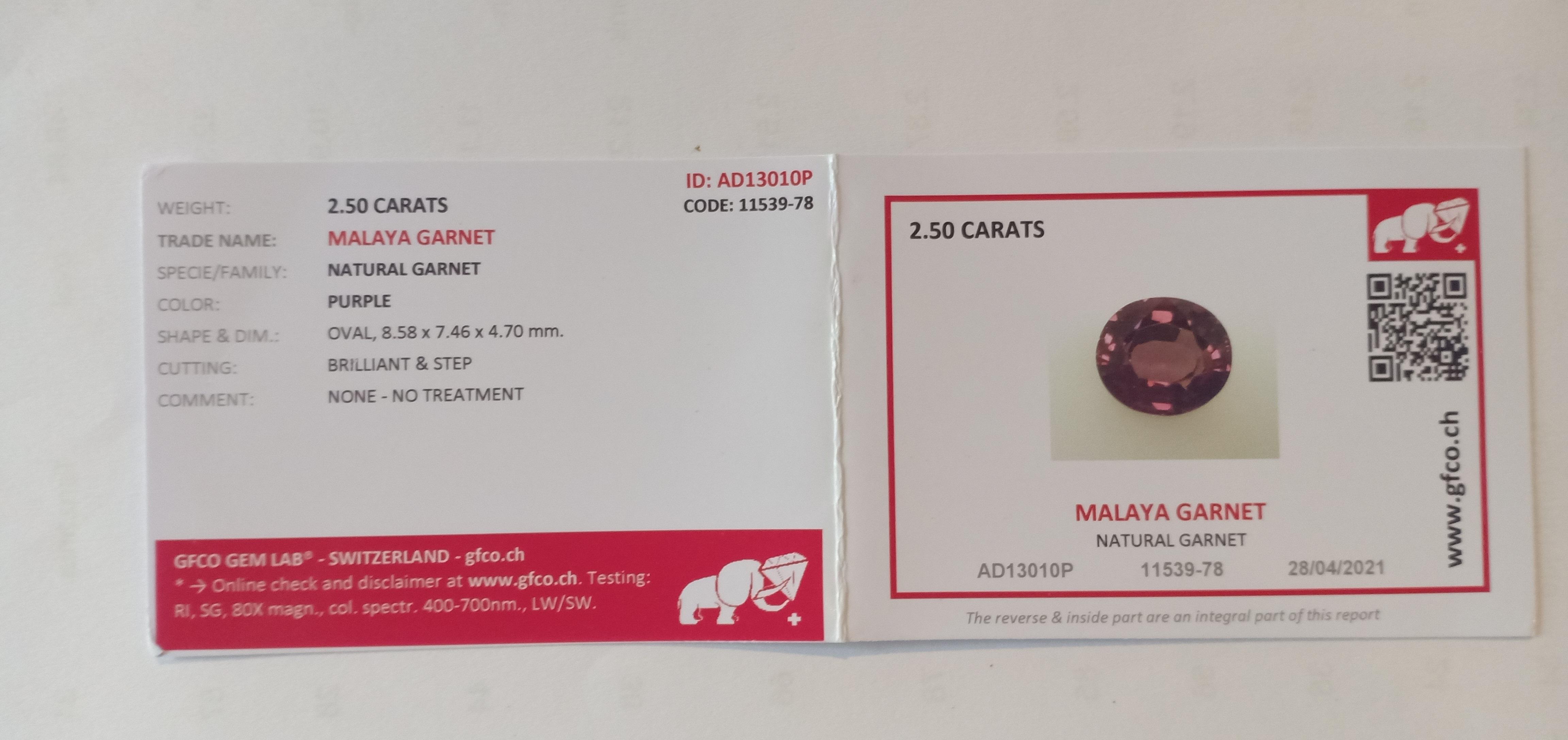 NATURAL MALAYA MAHENGE GARNET - TANZANIA - 2.50 Cts - Certificate GFCO Swiss Laboratory - Image 3 of 3