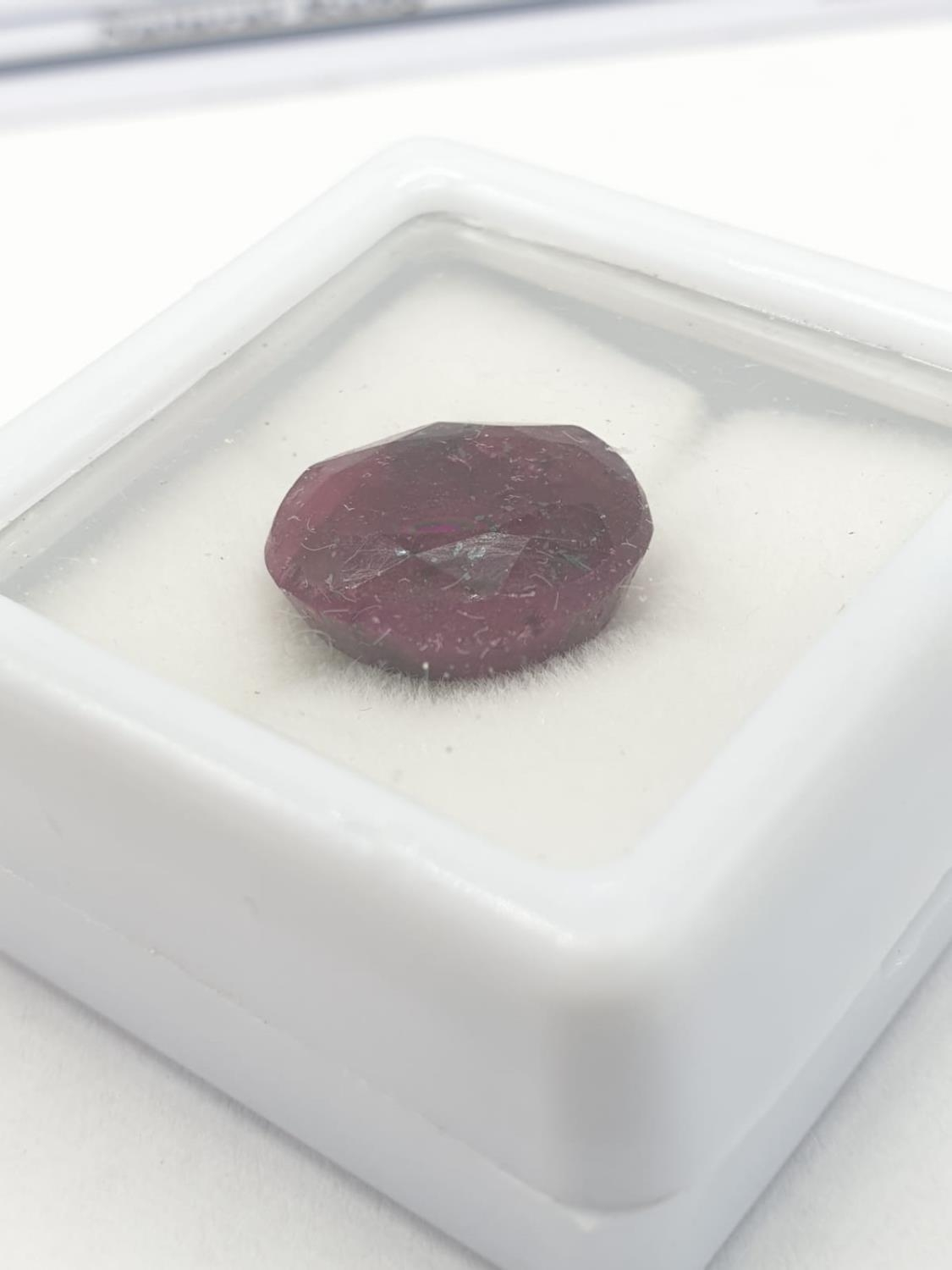8.20 Cts Natural ruby. Oval mixed cut stone. Good colour. GLI certification included. - Image 2 of 4