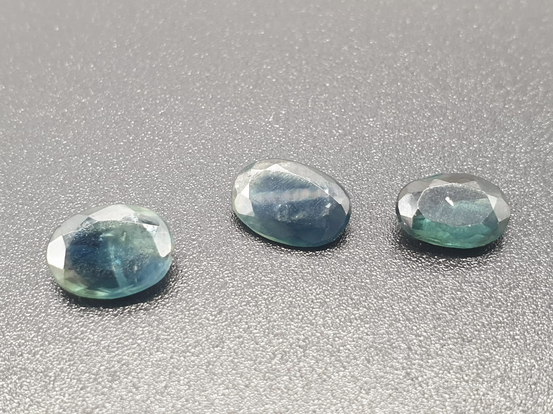 Set of 3 Blue Sapphires GJSPC Certified