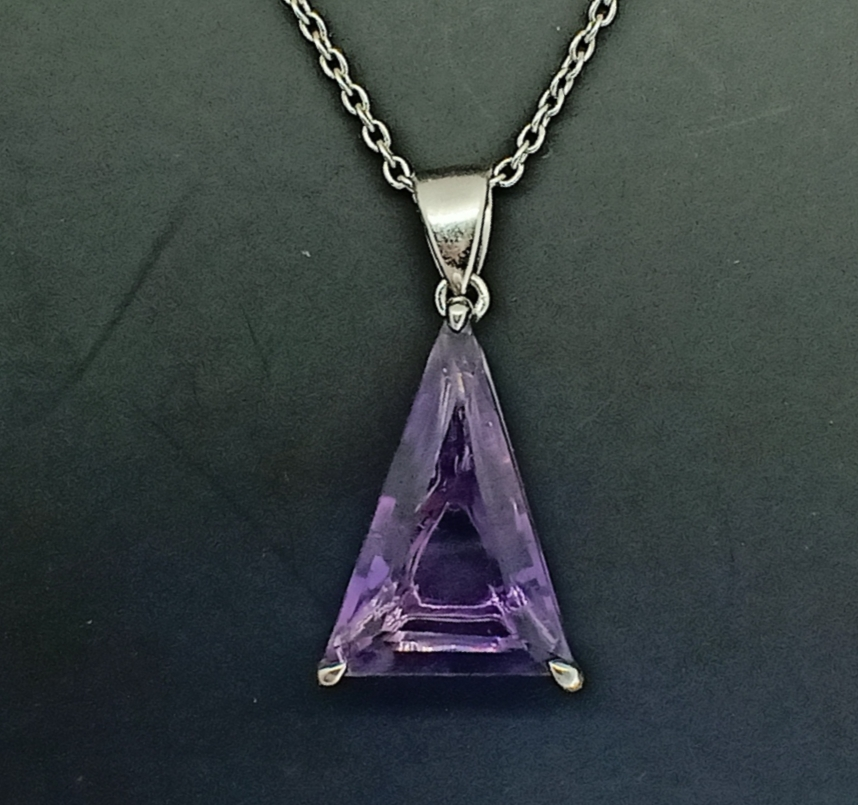 PENDANT with SILVER 925 RHODIUM with AMETHYST - BRAZIL - 10.22 Cts - Certificate GFCO Swiss Laborat - Image 4 of 5