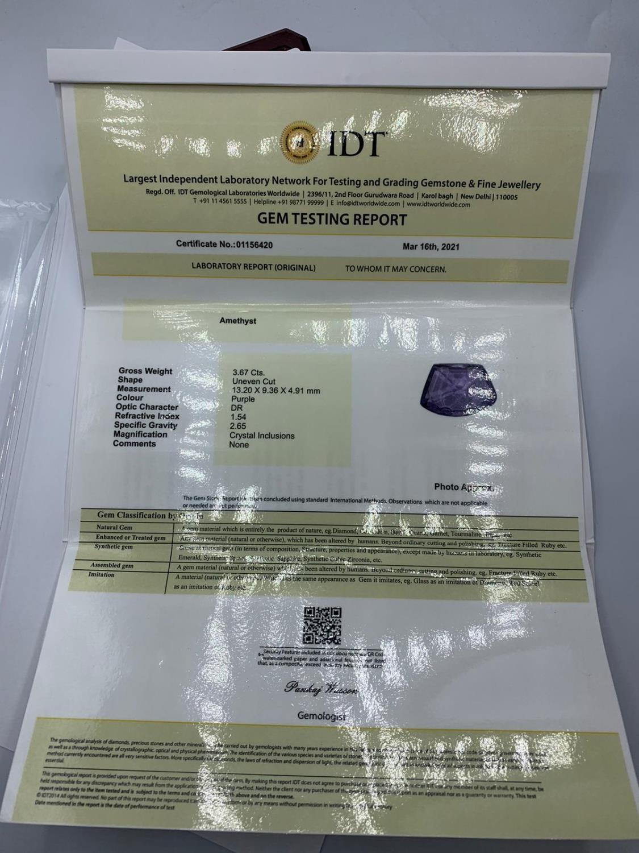 3.67ct Fancy Shape Amethyst Gemstone IDT Certified - Image 2 of 2