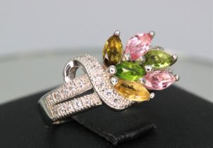 SILVER 925 RING with NATURAL TOURMALINES - MOZAMBIQUE - 15.30 Cts - Certificate GFCO Swiss Laborator