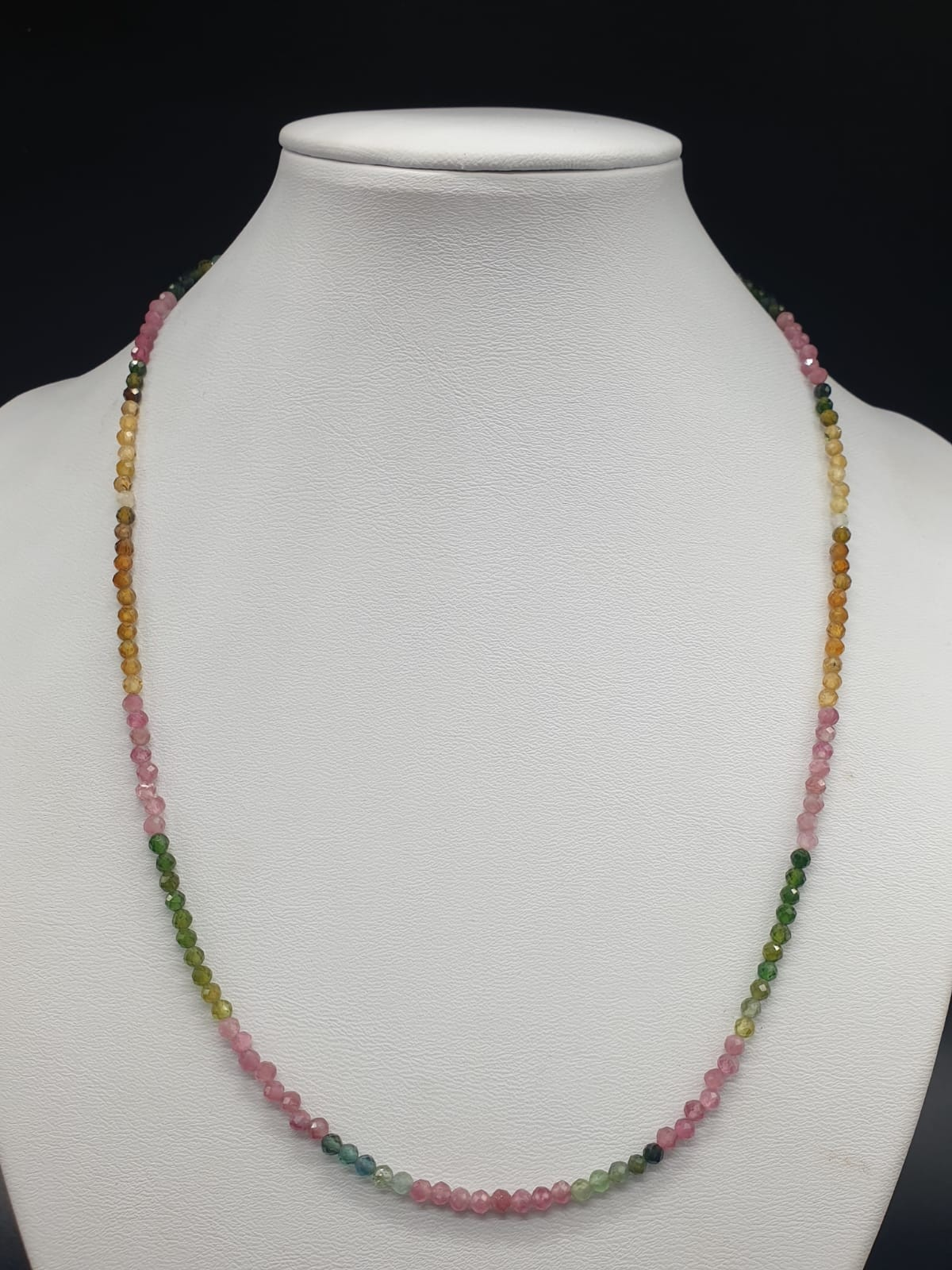 Single Row 3mm Tourmaline Necklace With Matching Tourmaline Drops Bracelet and 925 silver Clasp - Image 4 of 8