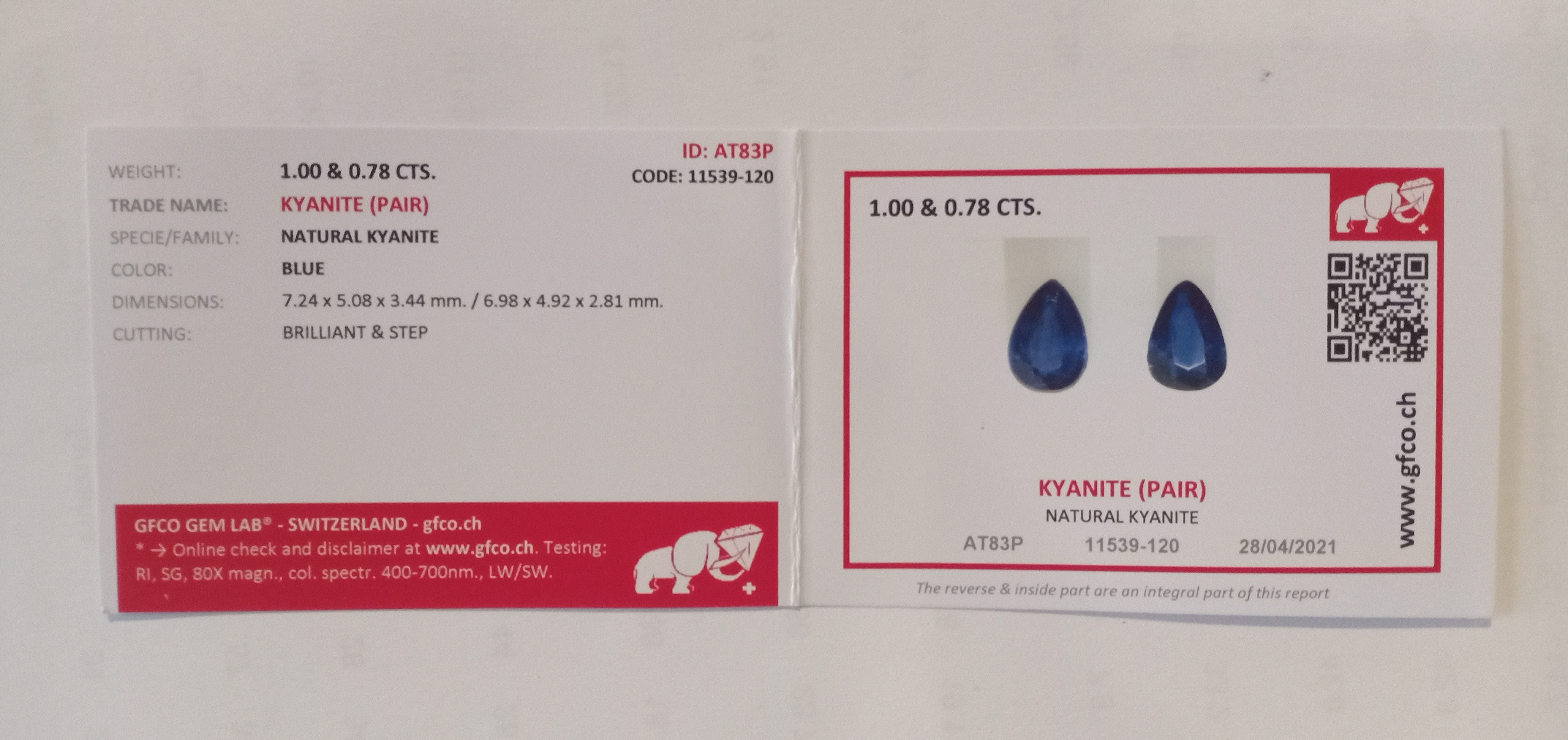 PAIR OF NATURAL KYANITES - NEPAL - 1.78 Cts - Certificate GFCO Swiss Laboratory - Image 2 of 2