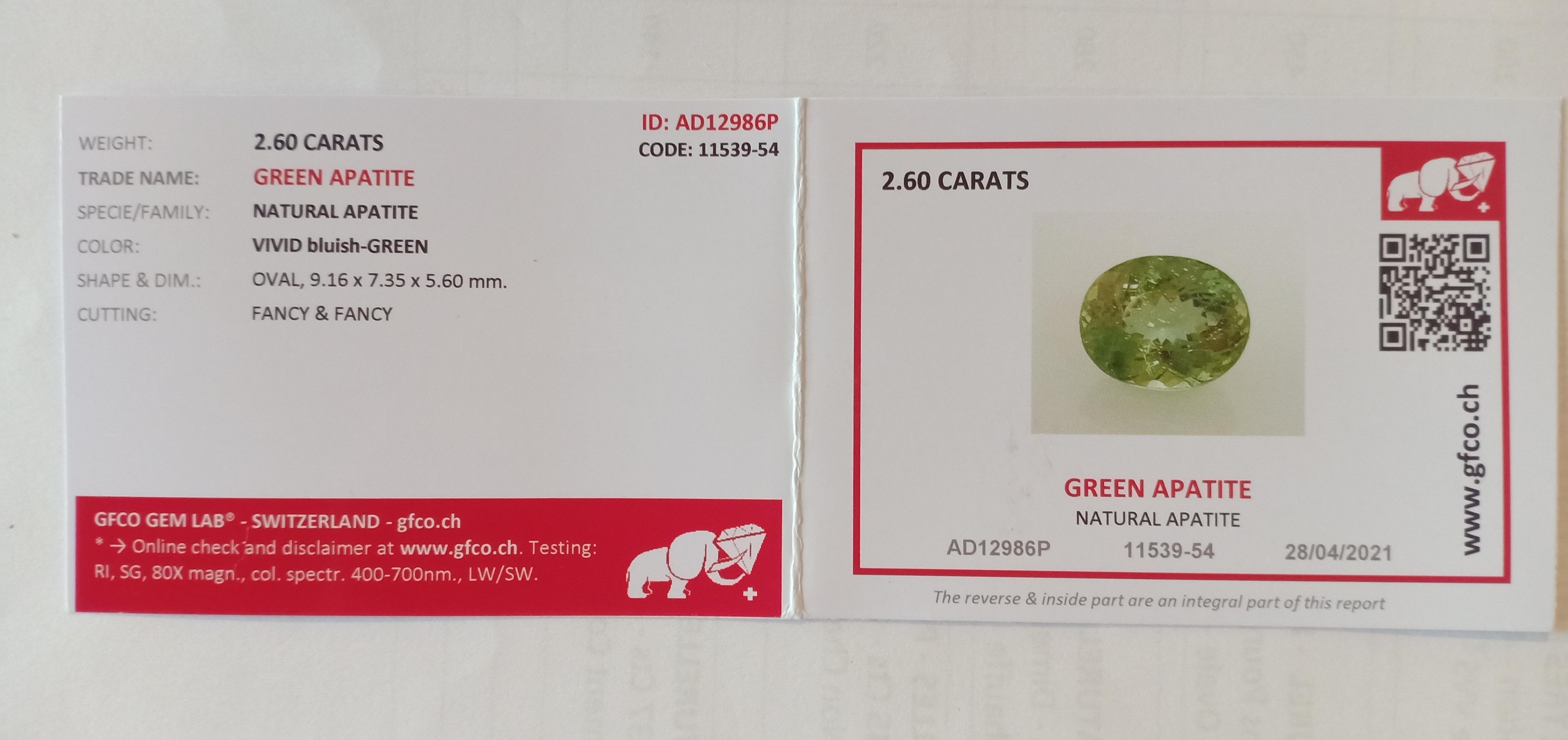 NATURAL GREEN APATITE - CEYLAN SRI LANKA - 2.60 Cts - Certificate GFCO Swiss Laboratory - Image 5 of 5