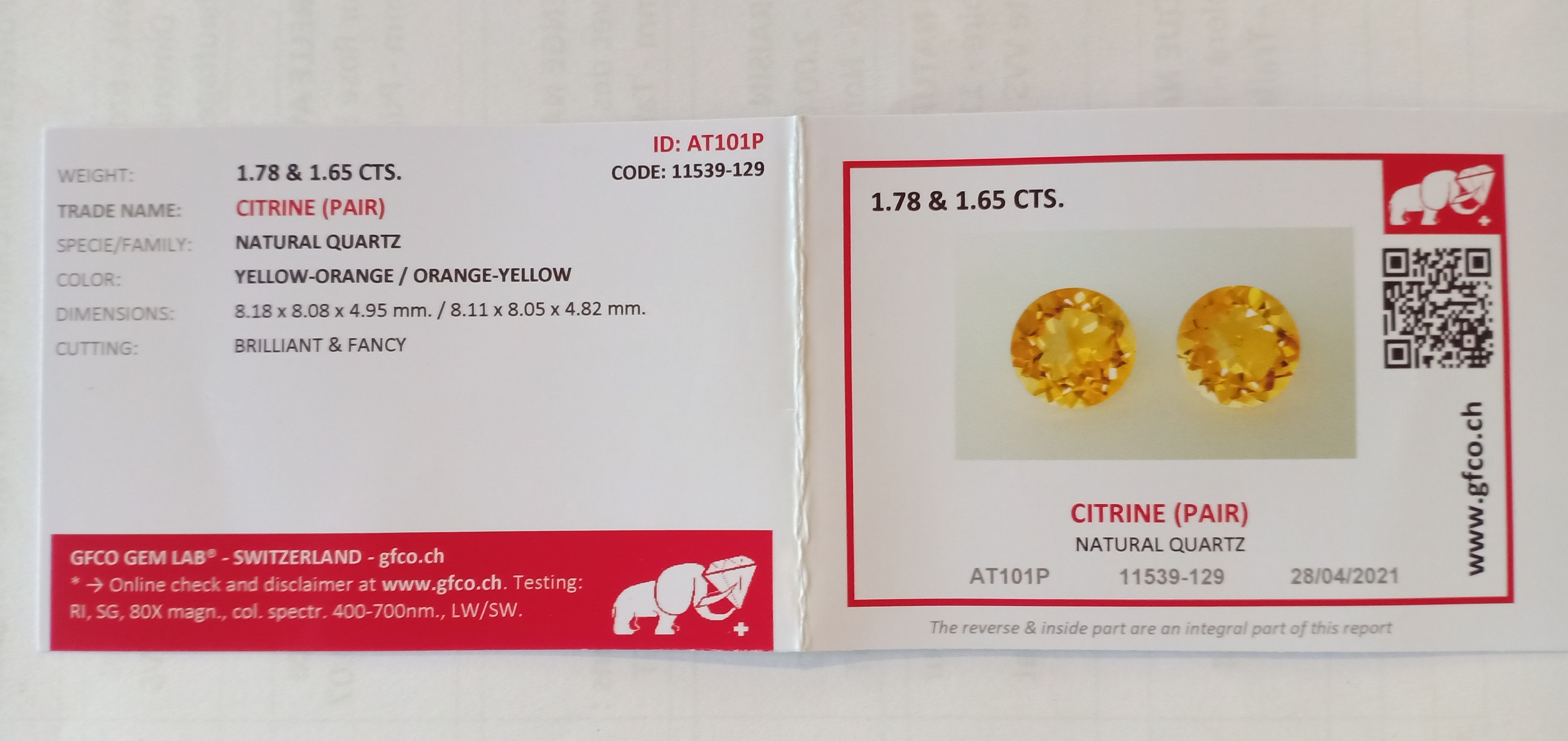 PAIR OF NATURAL CITRINES - BRAZIL - 3.43 Cts - Certificate GFCO Swiss Laboratory - Image 5 of 5