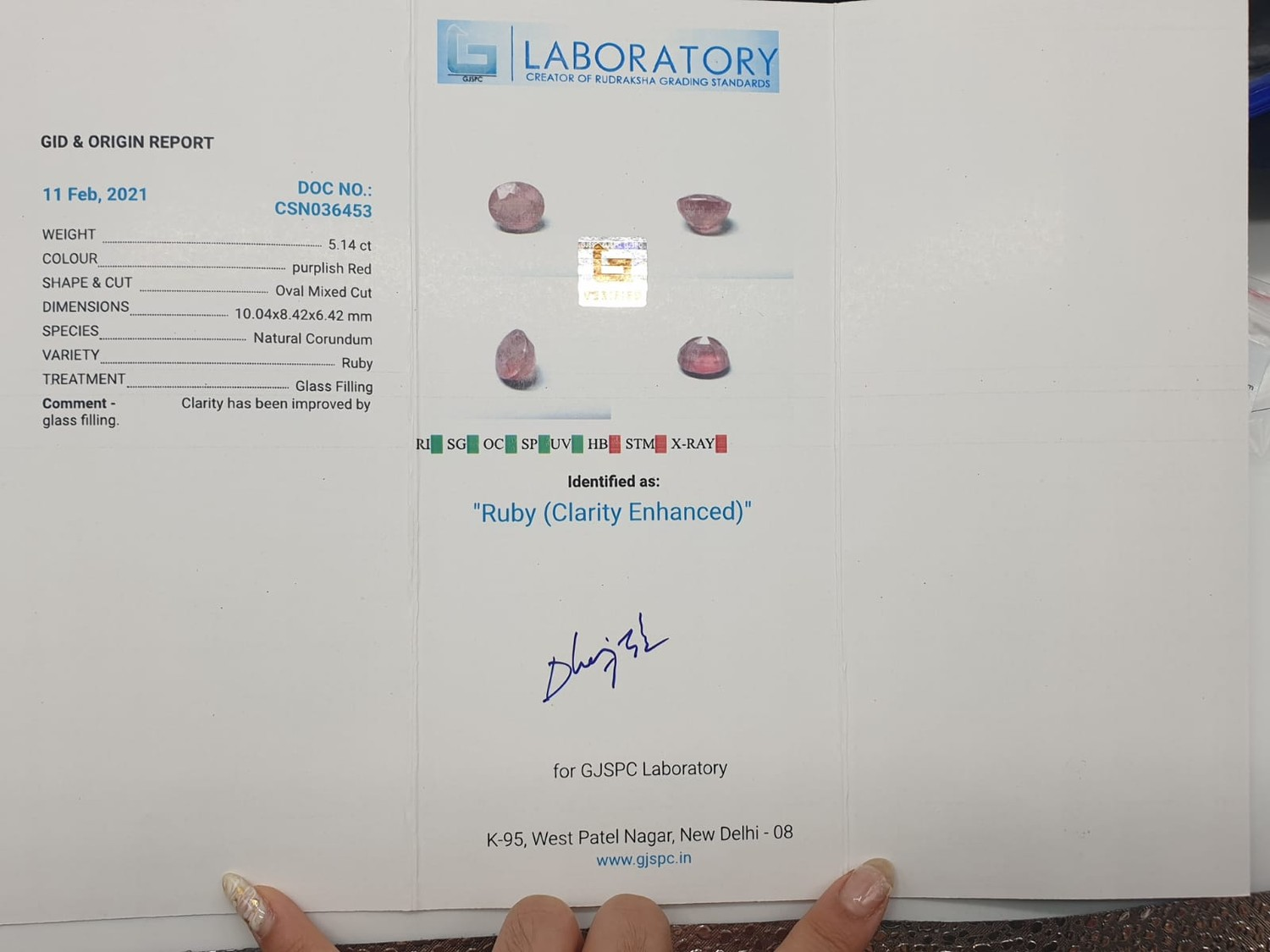5.14ct ruby (clarity enhanced) GJSPC Certified - Image 4 of 4