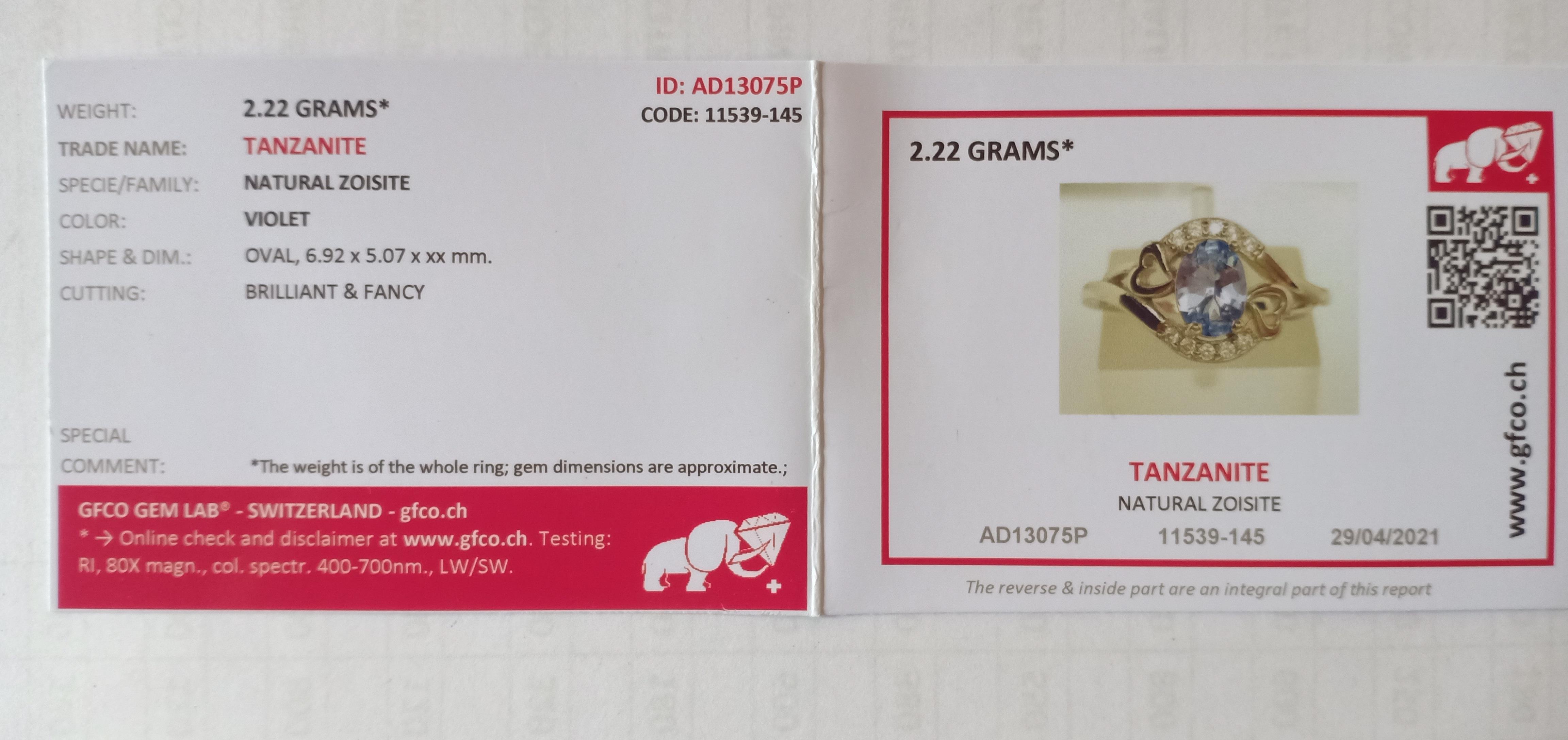 SILVER 925 RING with NATURAL TANZANITE - 2.22 Grams - TANZANIA - Certificate GFCO Swiss Laboratory - Image 5 of 5