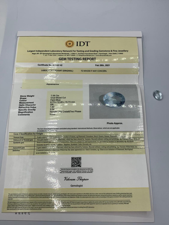 7.58 Ct Aquamarine. IDT Certified - Image 3 of 3